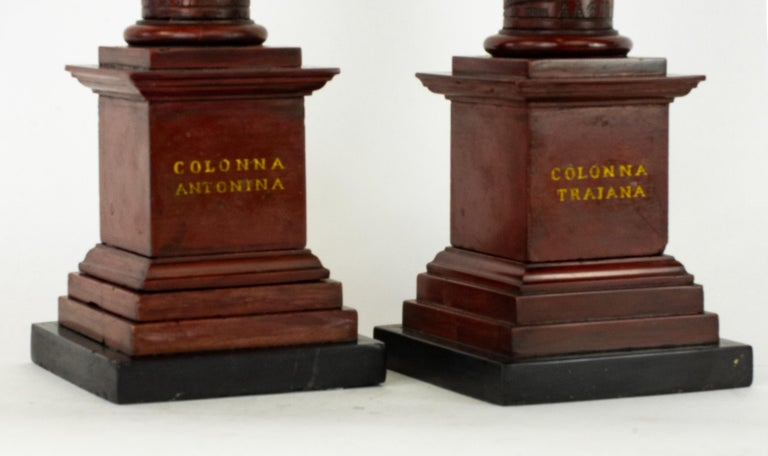 Pair of Early 19th Century Marble Models, Trajan's and Marcus Aurelius Columns In Good Condition For Sale In Lafayette, CA