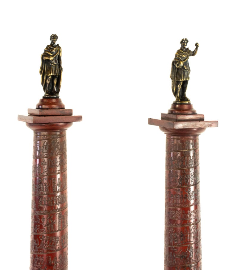 Bronze Pair of Early 19th Century Marble Models, Trajan's and Marcus Aurelius Columns For Sale