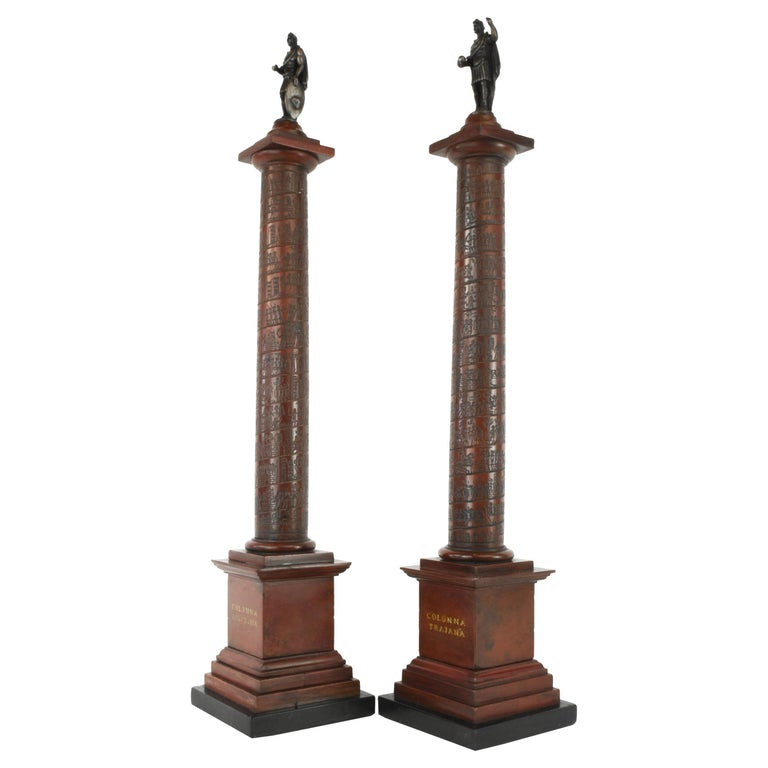 Pair of Early 19th Century Marble Models, Trajan's and Marcus Aurelius Columns For Sale