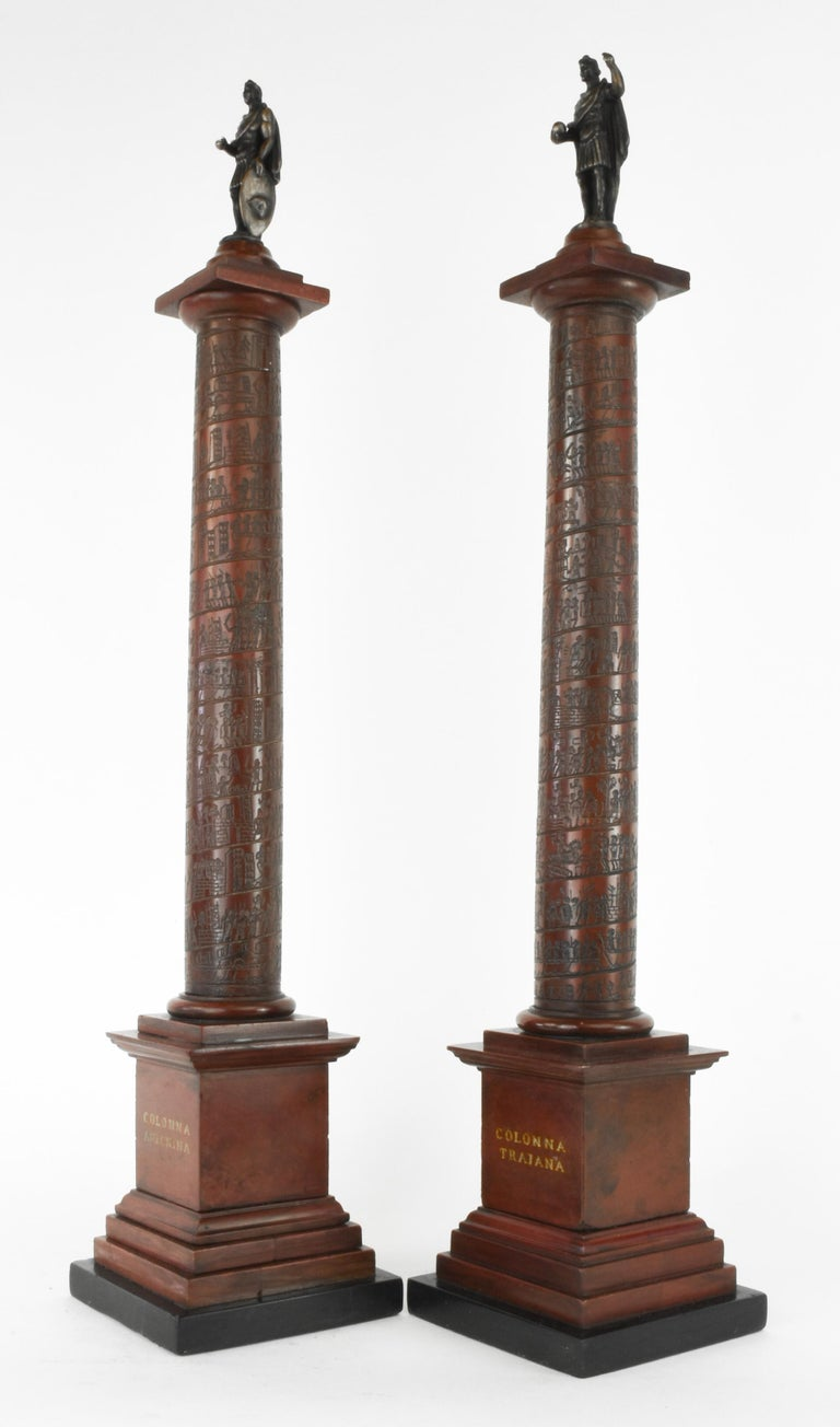 """A pair of early 19th century Grand Tour marble architectural models of Roman columns. Rosso and verde antico marble, with bronze figures. Rome, circa 1820-1830, measure: 16"""" H.  The triumphal Columns of Trajan and Marcus Aurelius, erected in"""