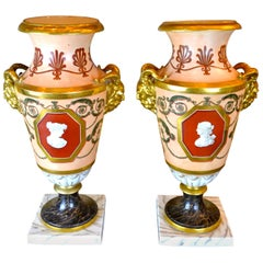 Pair of Early 19th Century Neoclassical 'Old Paris' Porcelain Vases