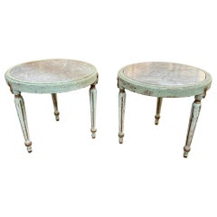 Pair of Early 19th Century Painted Gustavian Marble Top Side Tables