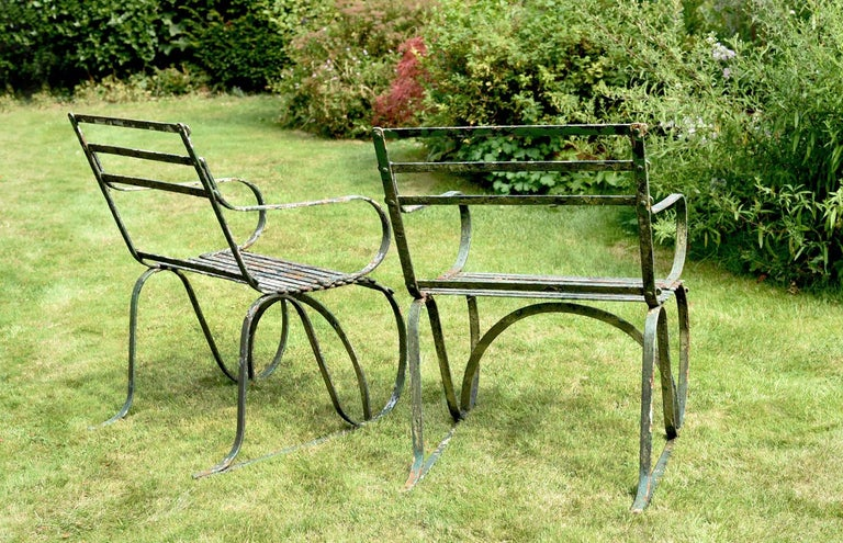 Regency Pair of Early 19th Century Painted Iron Garden Armchairs of Grand Scale For Sale