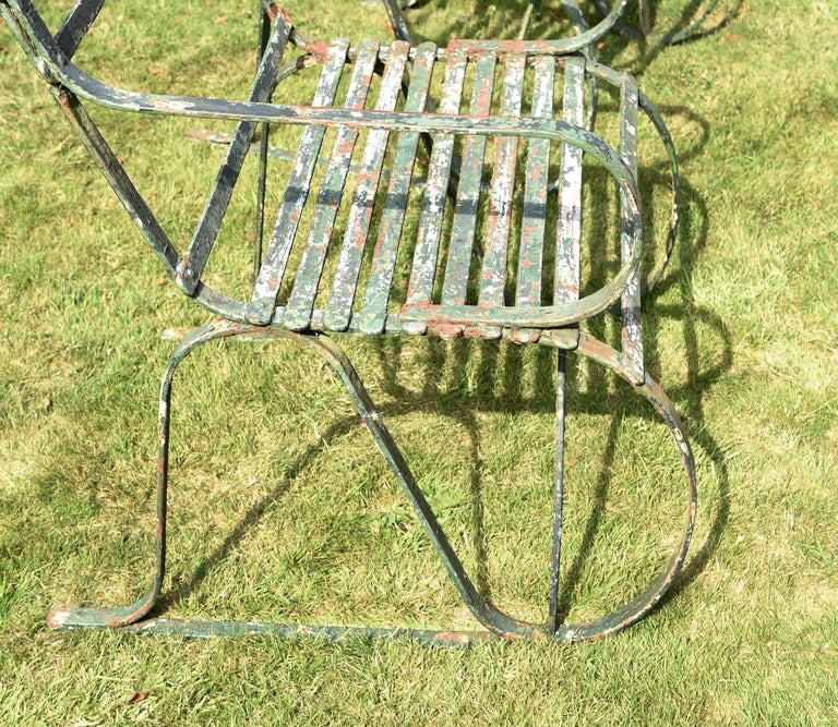 English Pair of Early 19th Century Painted Iron Garden Armchairs of Grand Scale For Sale