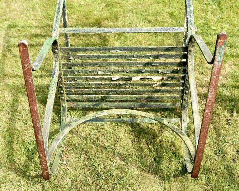 Wrought Iron Pair of Early 19th Century Painted Iron Garden Armchairs of Grand Scale For Sale