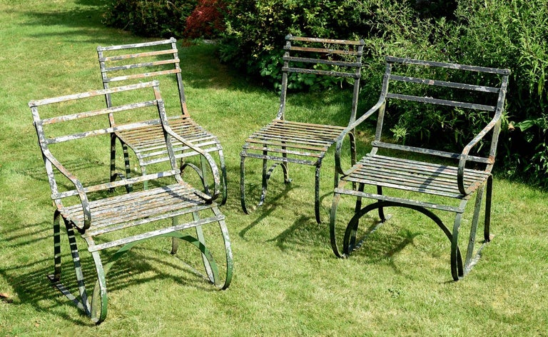Pair of Early 19th Century Painted Iron Garden Armchairs of Grand Scale For Sale 1