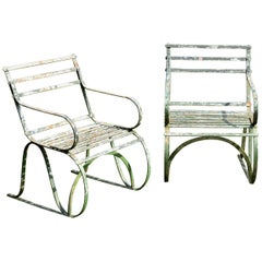 Pair of Early 19th Century Painted Iron Garden Armchairs of Grand Scale