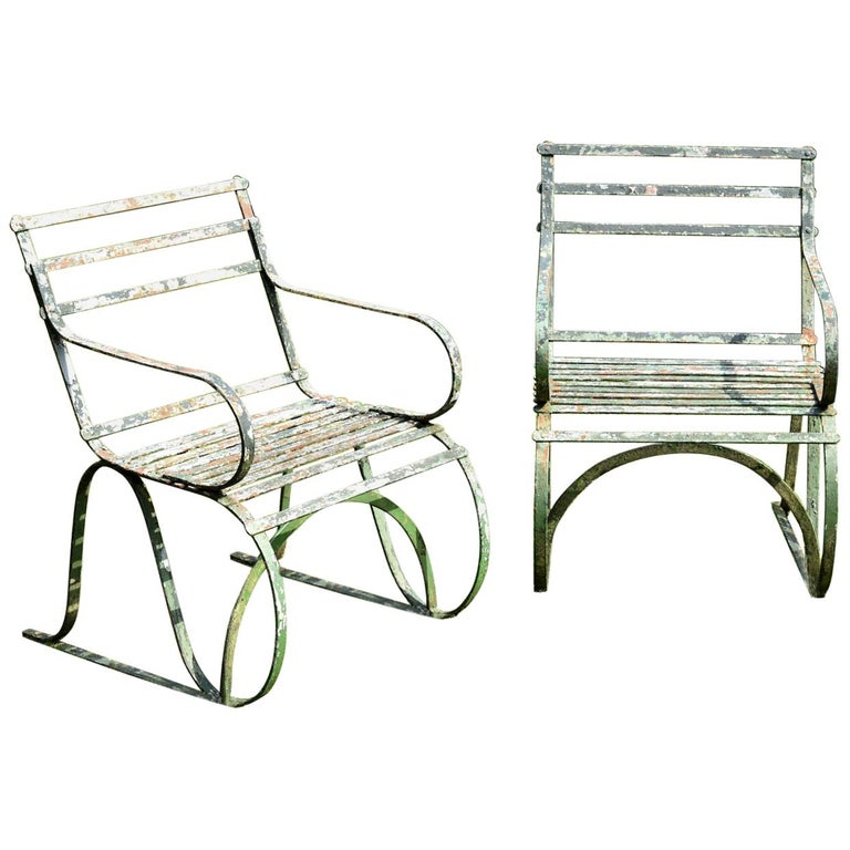 Pair of Early 19th Century Painted Iron Garden Armchairs of Grand Scale For Sale