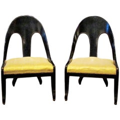 Pair of Early 19th Century Regency Ebonized and Gilt Spoon Back Slipper Chairs