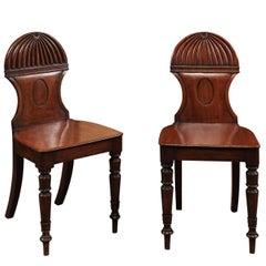 Pair of Early 19th Century Regency English Mahogany Hall Chairs
