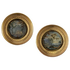 Pair of Early 19th Century Regency Period Convex Glass Painted Landscapes