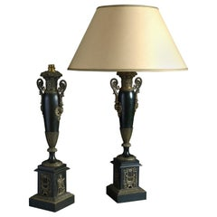 Pair of Early 19th Century Restauration Period Tole Lamps