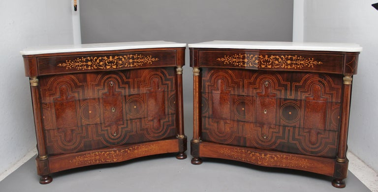 Mid-19th Century Pair of Early 19th Century Spanish Marble Top Commodes For Sale