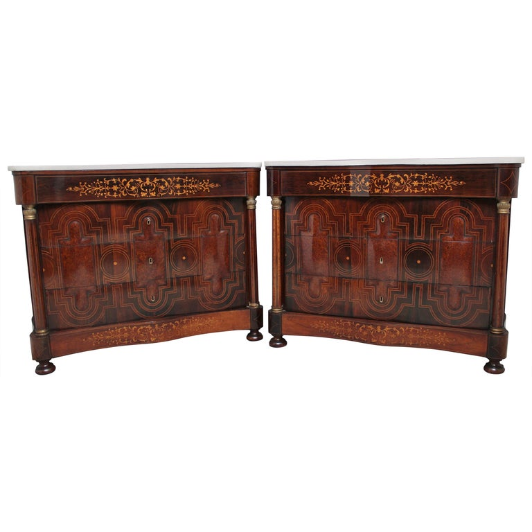 Pair of Early 19th Century Spanish Marble Top Commodes For Sale