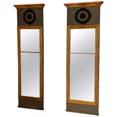 Pair of Early 19th Century Swedish Neoclassical Painted Pier Mirrors