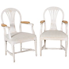 Pair of Early 19th Century Swedish White-Washed Armchairs