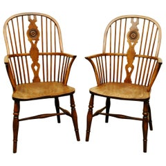 Pair of Early 19th Century Thames Valley Yew Tree Windsor Armchairs