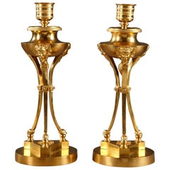 Pair of Early 19th Century Tripod Candlesticks