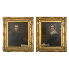 Pair of Early 19th Century Victorian Oil on Canvas Portrait Paintings