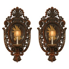 Pair of Early 19th Italian Carved Polychrome and Gilt Sconces