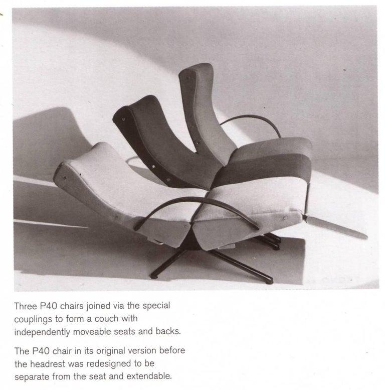Mid-Century Modern Pair of Early 1st Edition P40 Chairs, Osvaldo Borsani, Tecno Italy 1956 Restored For Sale