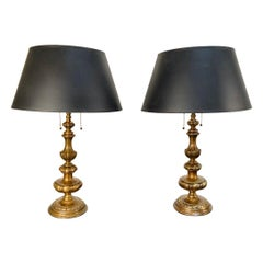 Pair of Early 20th Century Baroque Style Caldwell Bronze Lamps