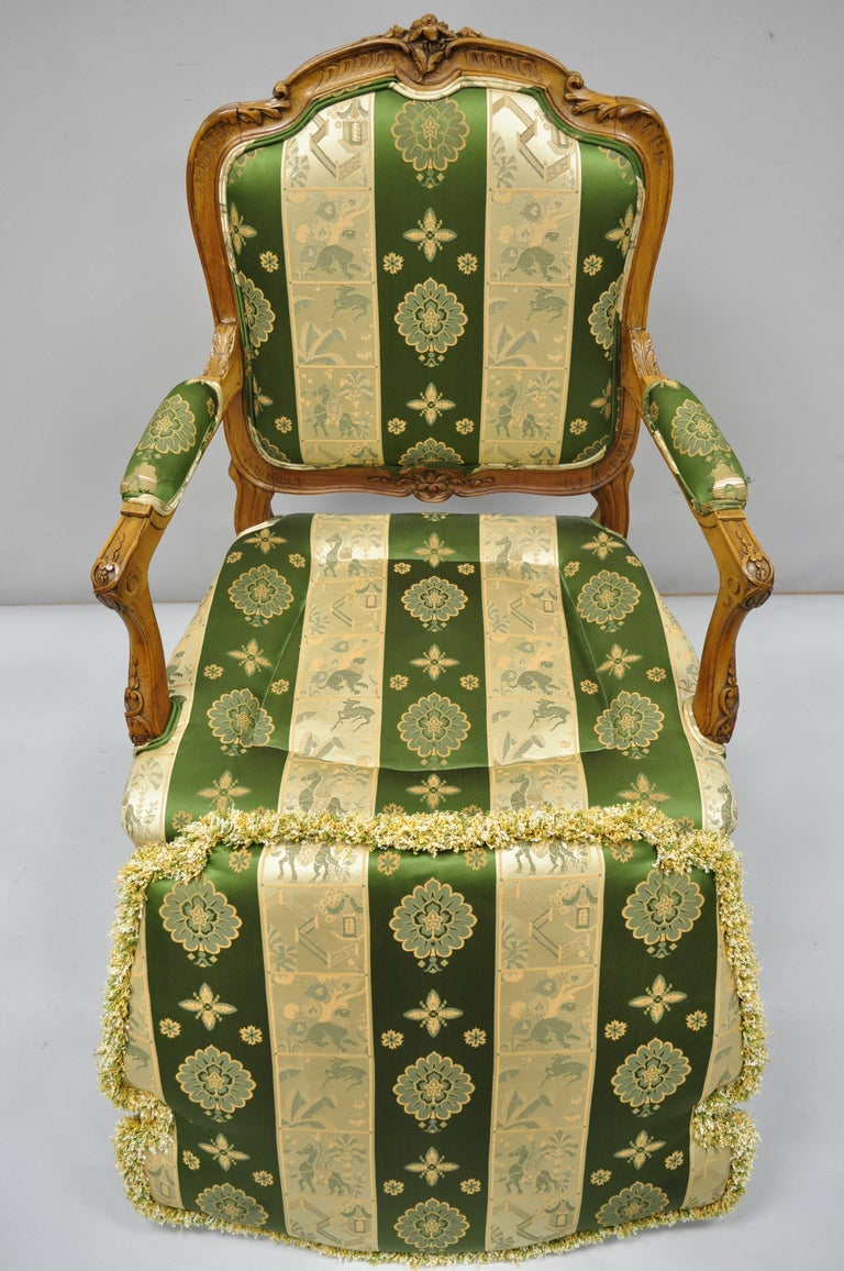 Pair of French Louis XV Style Cream Gold Walnut Fauteuil Armchairs For Sale 5
