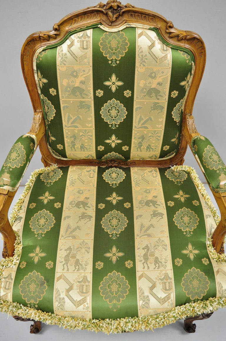 Pair of French Louis XV Style Cream Gold Walnut Fauteuil Armchairs For Sale 6