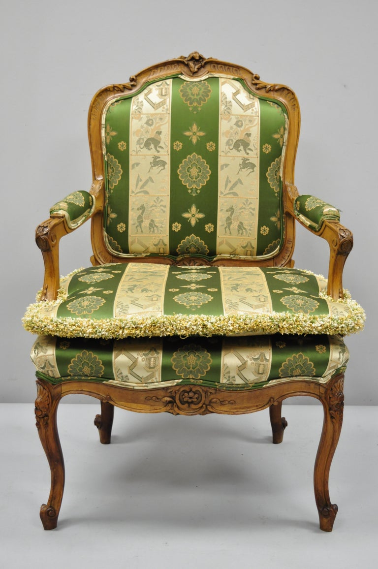 Pair of French Louis XV Style Cream Gold Walnut Fauteuil Armchairs For Sale 7