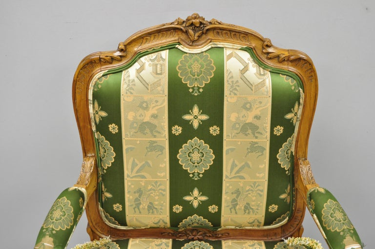 20th Century Pair of French Louis XV Style Cream Gold Walnut Fauteuil Armchairs For Sale