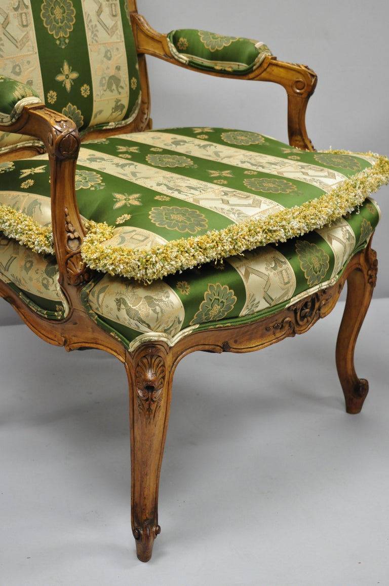 Pair of French Louis XV Style Cream Gold Walnut Fauteuil Armchairs For Sale 1