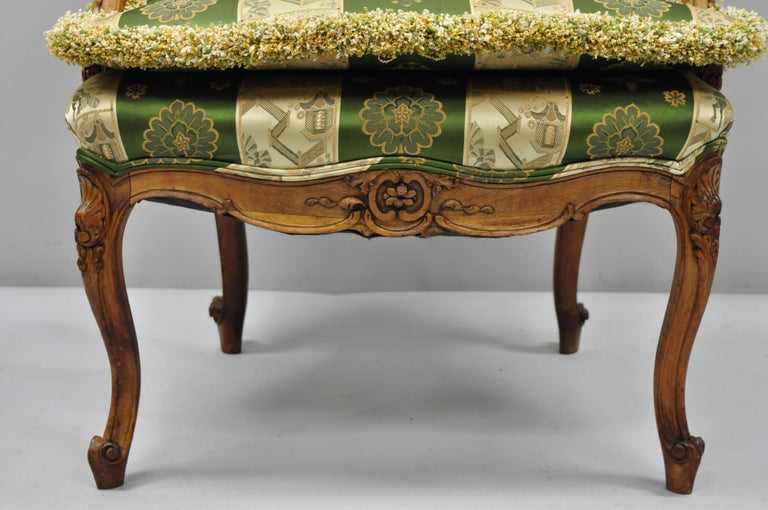 Pair of French Louis XV Style Cream Gold Walnut Fauteuil Armchairs For Sale 3