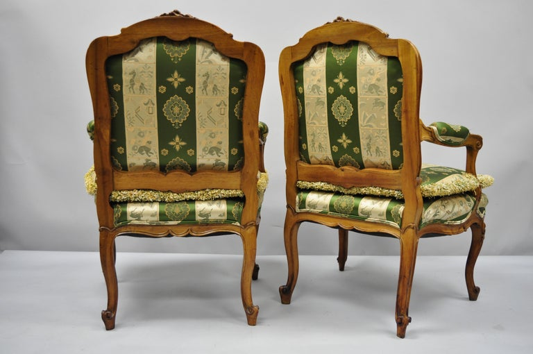 Pair of French Louis XV Style Cream Gold Walnut Fauteuil Armchairs For Sale 4