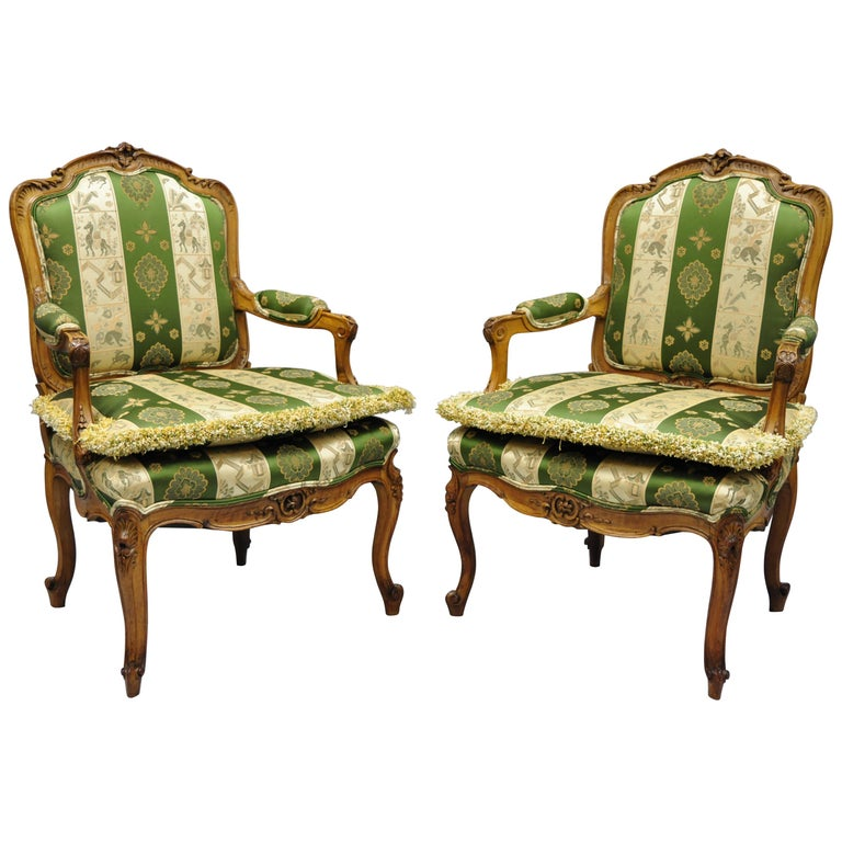 Pair of French Louis XV Style Cream Gold Walnut Fauteuil Armchairs For Sale