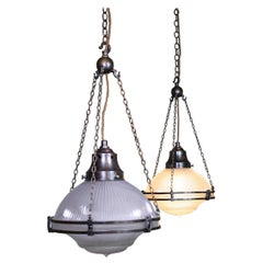 Pair of Large Holophane Prismatic Glass and Bronze Chandelier Lights
