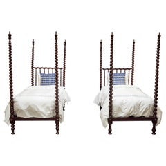 Pair of Early 20th Century Spanish Majorcan Walnut Poster Beds
