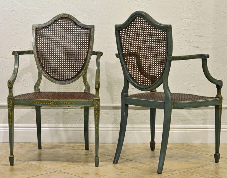 Pair Of Early 20th Century English Adams Style Painted Shield Back Armchairs In Good Condition For