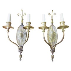 Pair of Early 20th Century American Brass Two-Arm Sconces