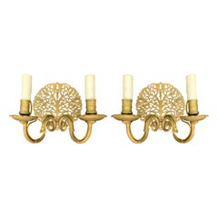 Pair of Early 20th Century American Swan Two-Arm Medallion Sconces