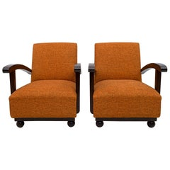 Pair of Early 20th Century Art Deco Italian Walnut Armchairs