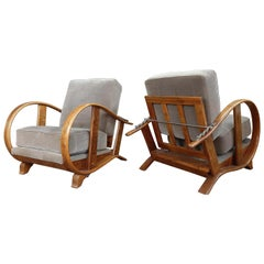 Pair of Early 20th Century Art Deco Jindrich Halabala Armchairs
