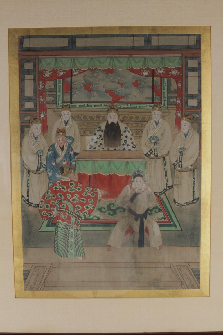 """Pair of early 20th century Asian watercolors mounted in custom frames. Great for almost any room and to add to your collection Dimensions: 24"""" W x 30"""" L."""