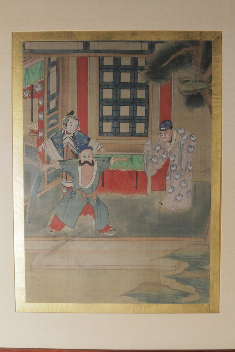 Chinese Export Pair of Early 20th Century Asian Watercolors Mounted in Custom Frames For Sale