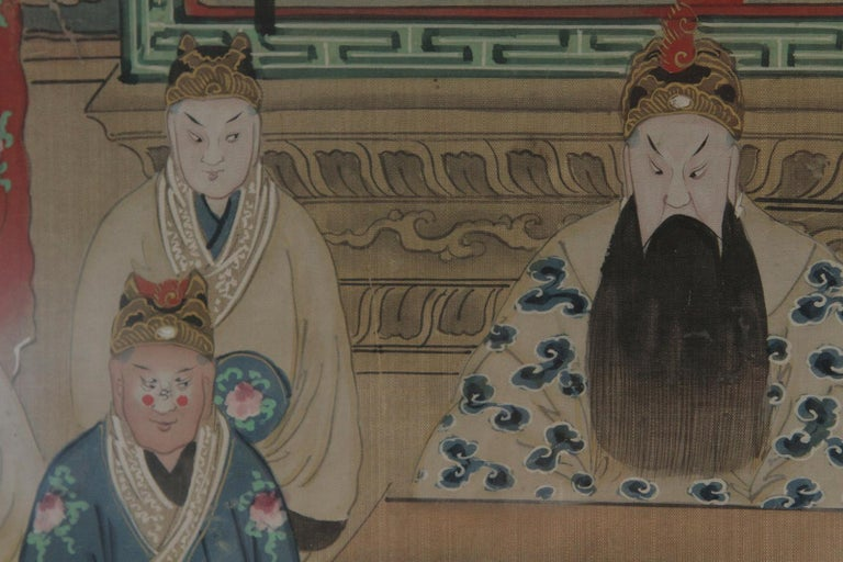Gilt Pair of Early 20th Century Asian Watercolors Mounted in Custom Frames For Sale