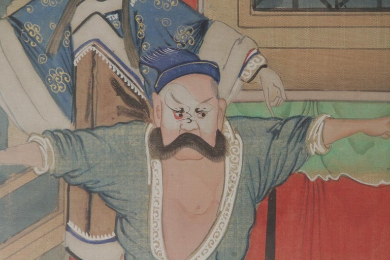 Mid-20th Century Pair of Early 20th Century Asian Watercolors Mounted in Custom Frames For Sale