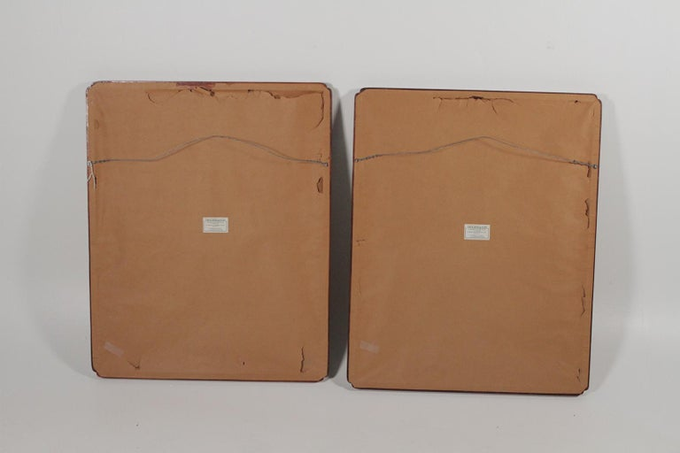 Pair of Early 20th Century Asian Watercolors Mounted in Custom Frames For Sale 1