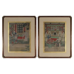 Pair of Early 20th Century Asian Watercolors Mounted in Custom Frames