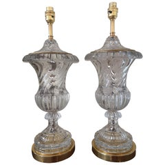 Pair of Early 20th Century Baccarat Style Crystal Lamps