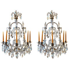 Pair of Early 20th Century Bagues Louis XVI Iron and Crystal Chandeliers