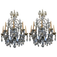 Pair of Early 20th Century Baguès Louis XVI Iron and Crystal Chandeliers